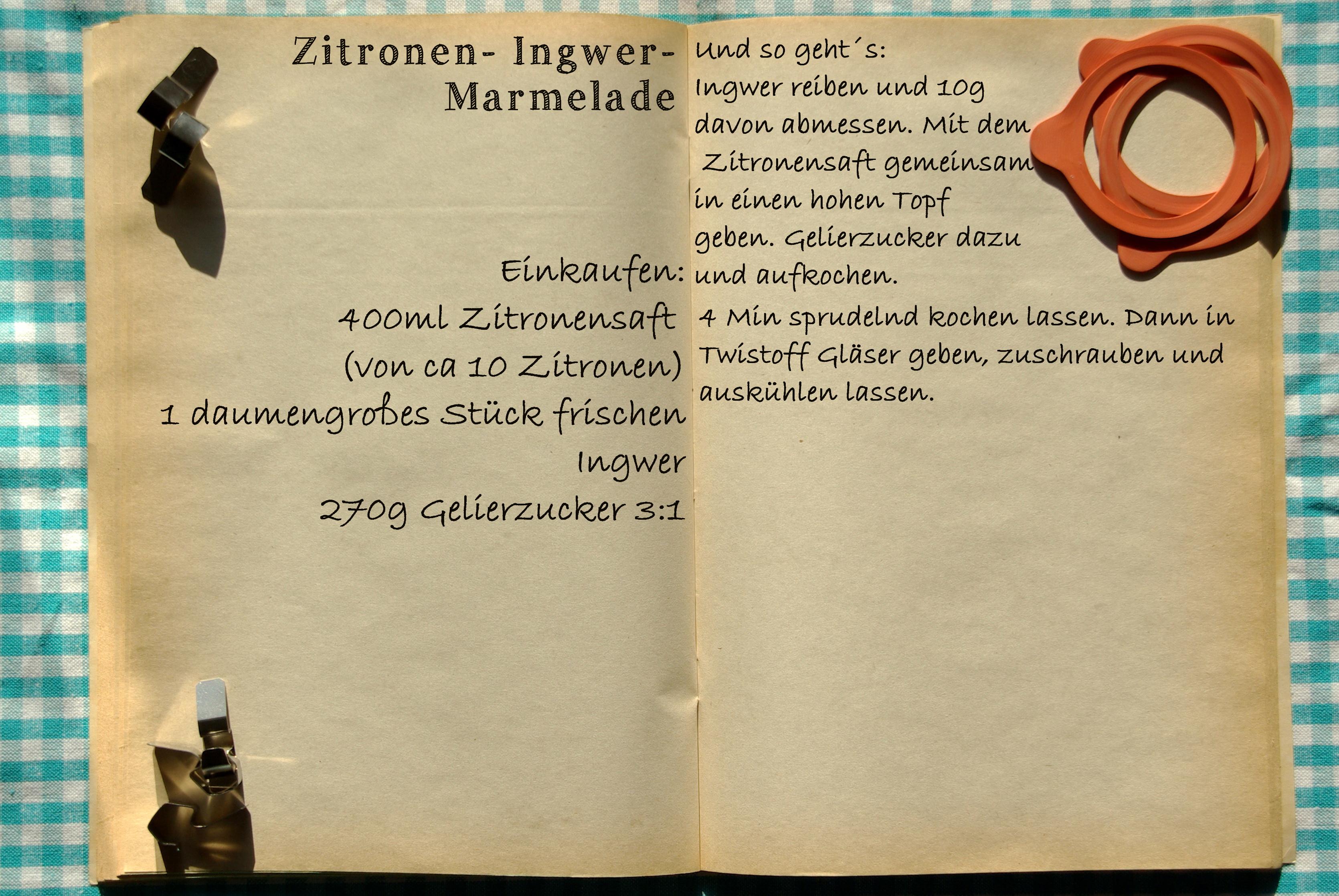 Einkaufszettel Ingwer Zitronen Marmelade by Glasgeflüster