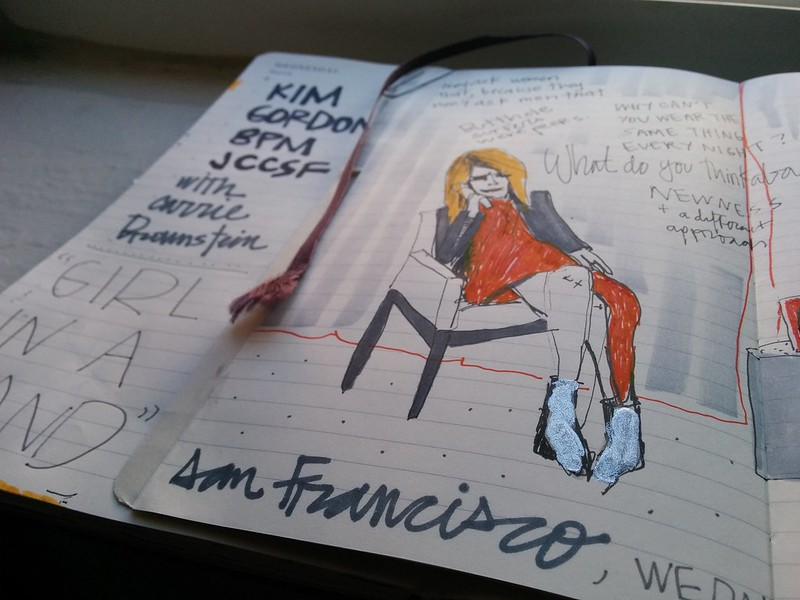 mi drawing: author talk × girl in a band by Kim Gordon. JCCSF w/ Carrie Brownstein