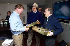 U.S. Secretary of State John Kerry presents Boston Bruins jerseys to Canadian Foreign Minister John Baird, left, and Mexican Foreign Secretary José Antonio Meade, right, in TD Garden in Boston, Massachusetts, as they watched the Bruins-Los Angeles Kings game following a North American Ministerial meeting involving the three in the Secretary's hometown on January 31, 2015. [State Department photo/ Public Domain]