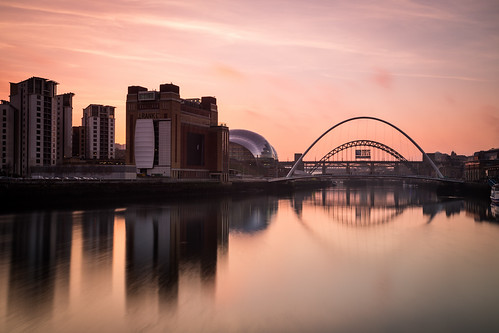 bridge sunset england reflection water skyline river newcastle unitedkingdom baltic tyne northeast newcastleupontyne quayside