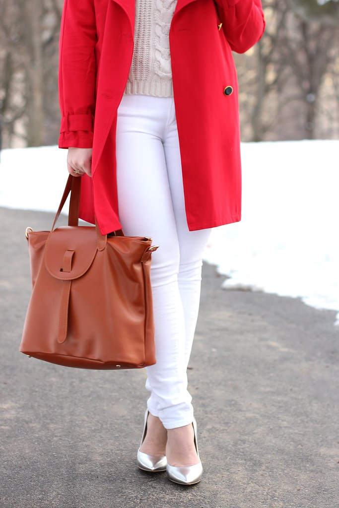 Red Trench & Winter Whites | #LivingAfterMidnite