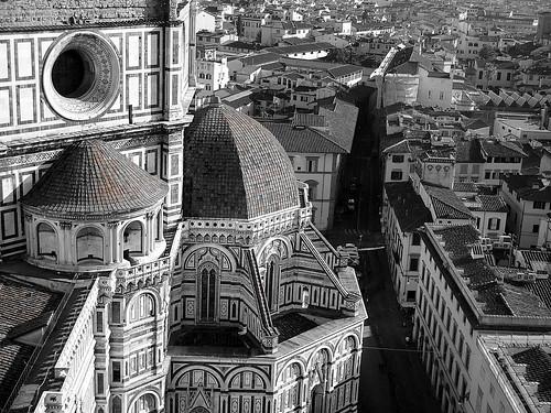 blackandwhite bw italy panorama white black church canon landscape florence italia bn chiesa dome firenze duomo bianco nero hdr paesaggio