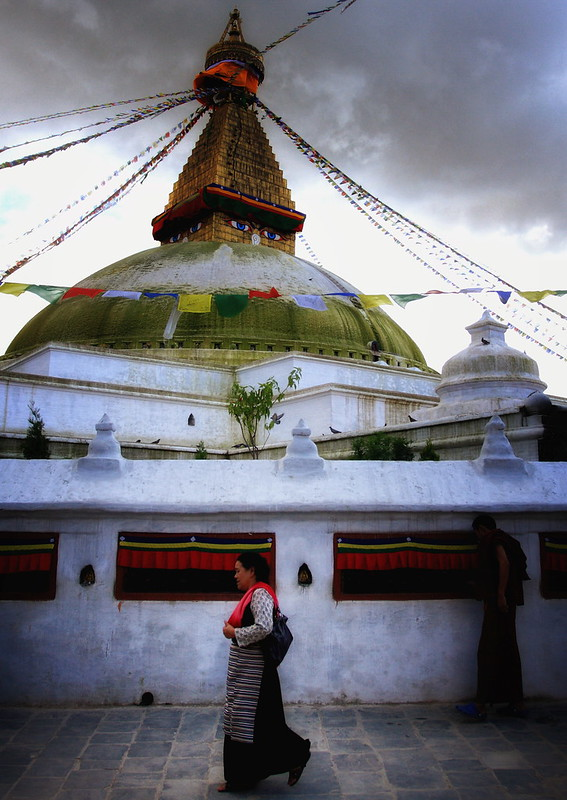 Circumnavigating The Bodhnath, Nepal