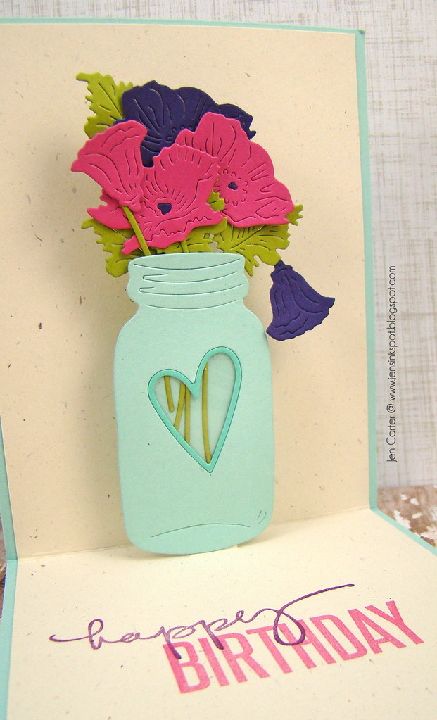 Jen Carter Frantic Stamper Pop Up Peonies Birthday Inside Closeup