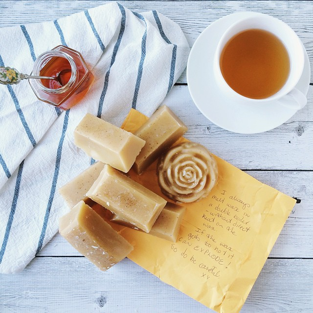 Little bars of gold (aka beeswax straight from the hive) for a project - the benefits of knowing a beekeeper! ????????????  Packed up with a note to not heat it too much lest it explodes ???? • #eatfoodphotos Mar 4 | #wrapped // Mar