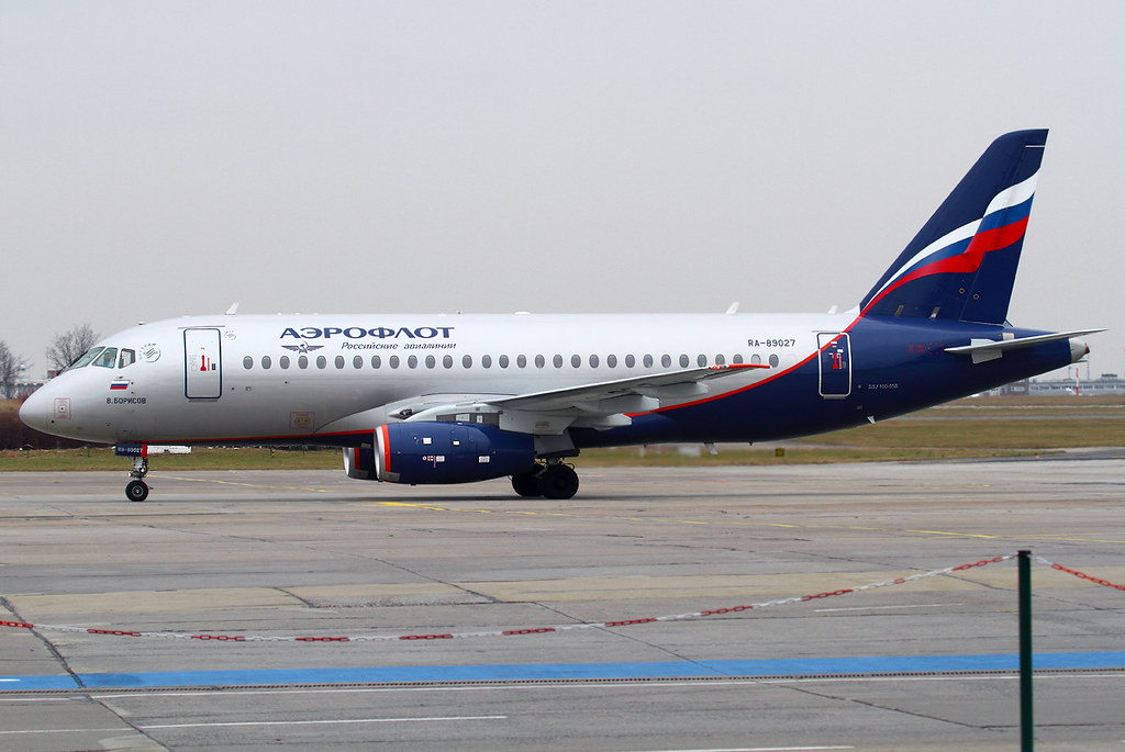 On the way to the stand after arrival from Moscow SVO. Delivered 06/2014. After Dresden, Berlin became the second Superjet destination in Germany recently.