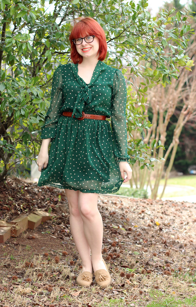 St. Patrick's Day Outfit: Green Polka Dot Dress and Tan Loafers