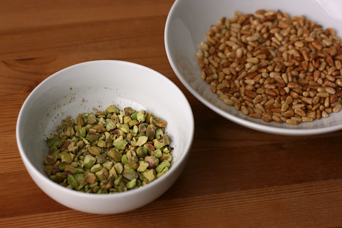 Toasted shelled pistachios, coarsely chopped, and pine nuts