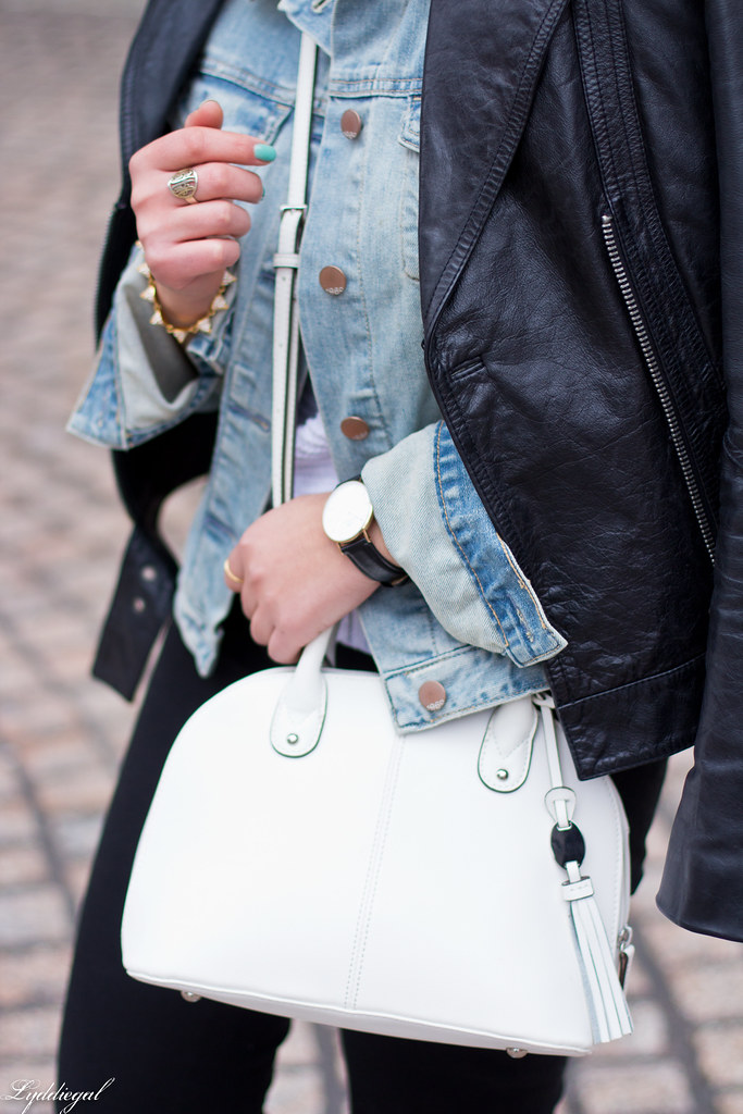 Leather jacket over denim jacket, mint green trainers-6.jpg