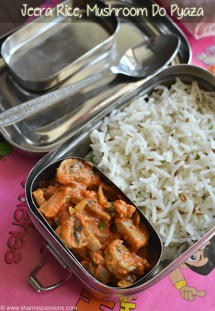 Jeera Rice, Mushroom Do Pyaza