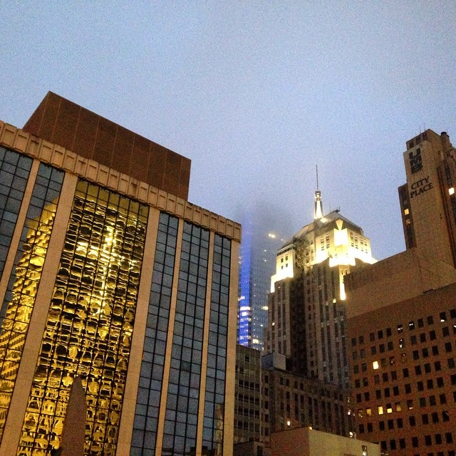 Downtown OKC and a fog-covered Devon Tower. #okc #oklahomacity #devontower