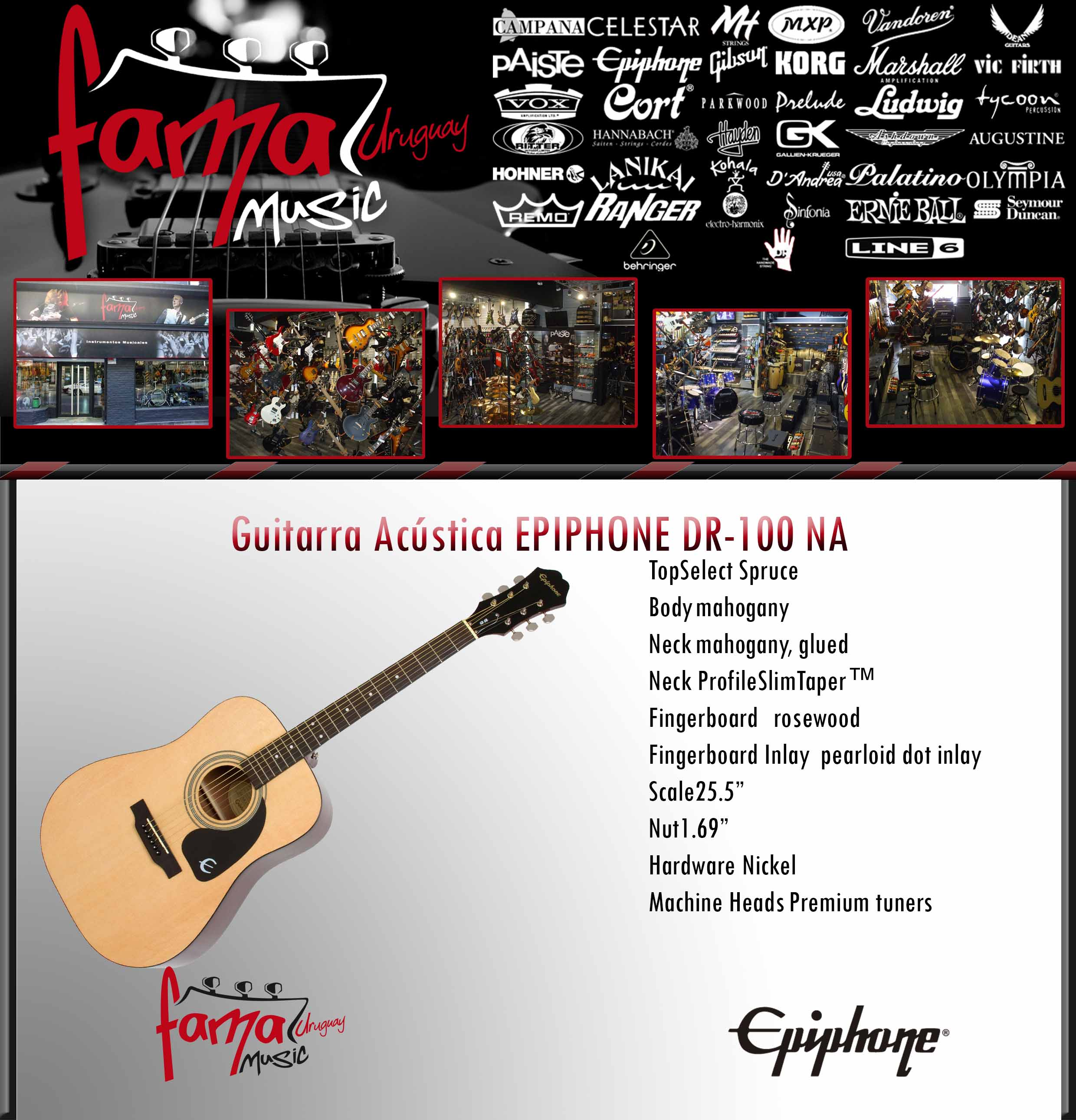 Guitarra Acústica EPIPHONE DR-100 NA