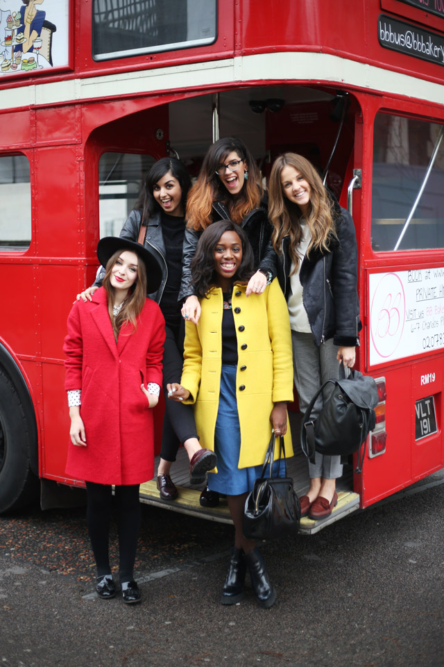 London Fashion bloggers on a bus