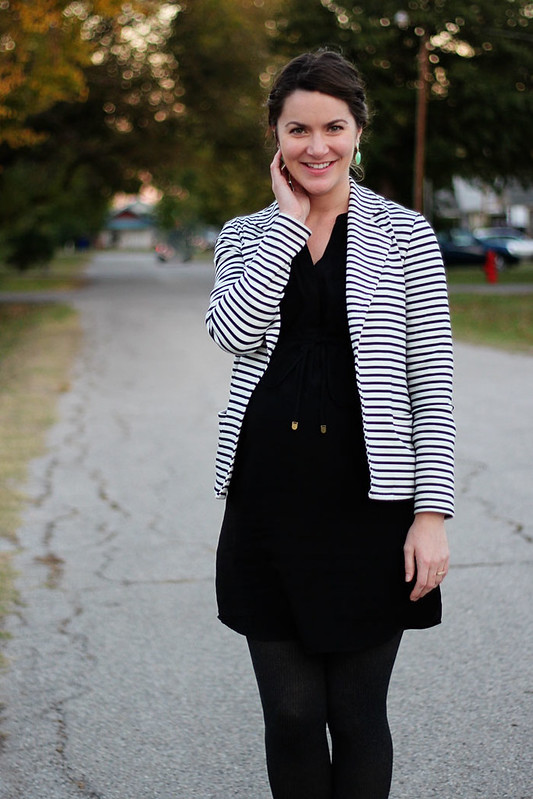 maternity-black-dress-striped-blazer-booties-1
