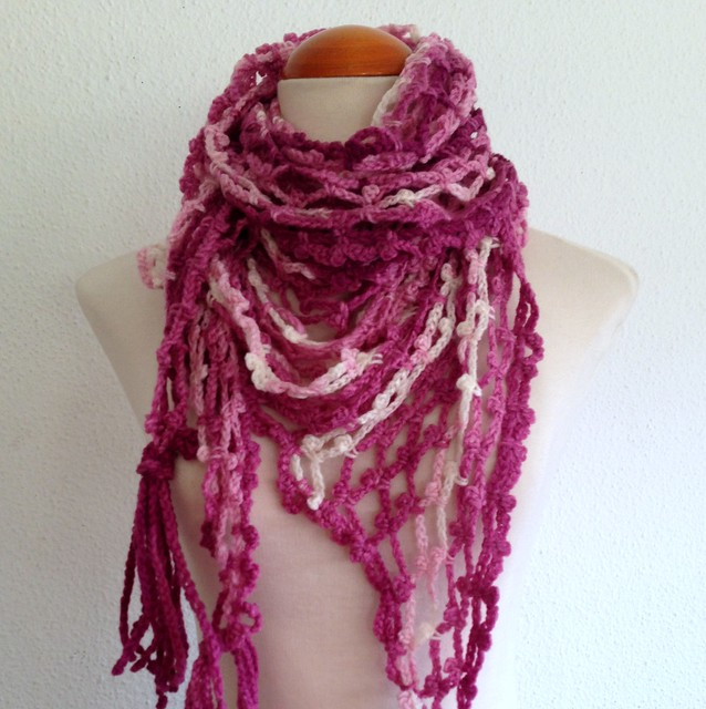 foulard chal en red rosa