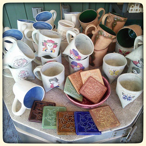 Fresh from the kiln! #ceramics #mugs #tiles
