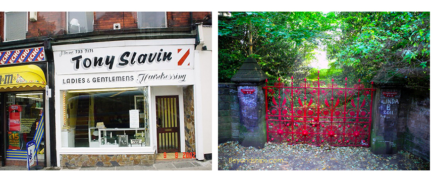 Ruta de los Beatles: A la izquierda, la barbería donde de pequeños los Beatles se cortaban el pelo, y a la derecha Strawberry Fields. ruta de los beatles - 15835464057 8740ecac71 o - Ruta de los Beatles en Liverpool