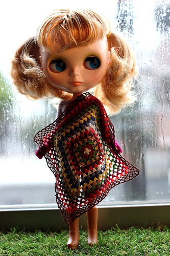 granny square shawl for doll