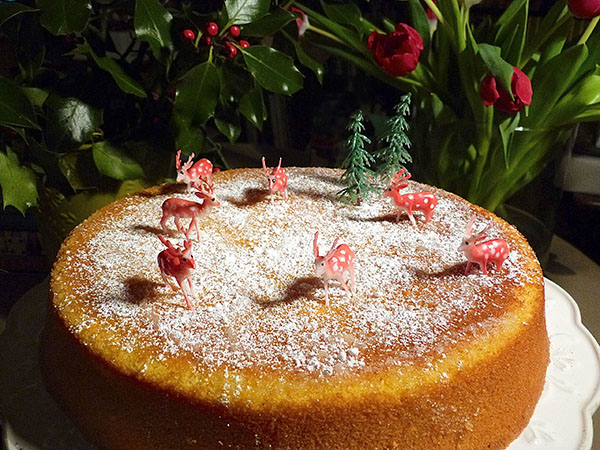 deers on a whole orange and polenta cake …