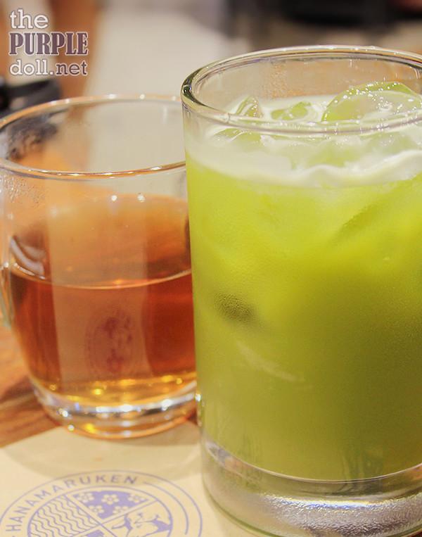 Complimentary hot tea and Iced Green Tea (P80)