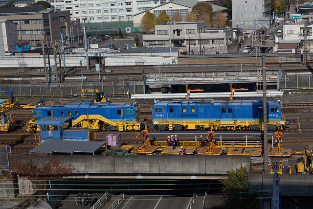 ドーミーイン三島から富士山と新幹線と保線作業