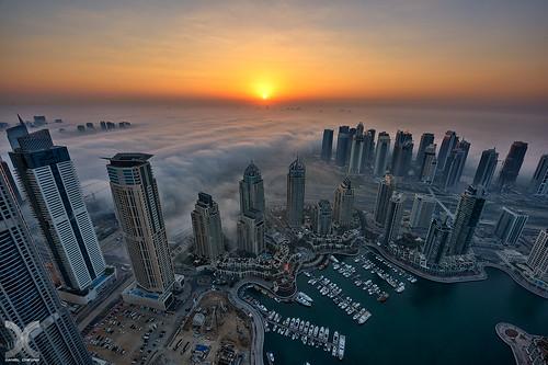 tower fog marina sunrise nikon dubai uae hdr d810 cayan nikkor1424mmf28 photoengine oloneo