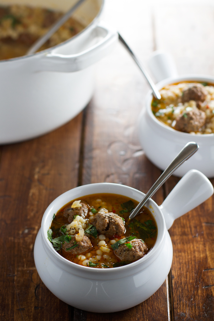 Moroccan Meatball and Couscous Soup - Loaded with tiny meatballs and pearl couscous, this soup is so flavorful! #meatball #meatballsoup #moroccan #couscous | Littlespicejar.com