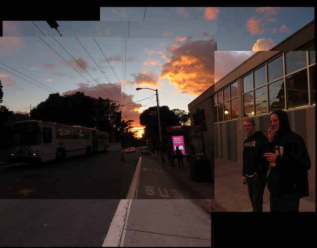 Mason and Kyle on Haight St during a particularly voluminous and colorful sunset; February 28, 2015