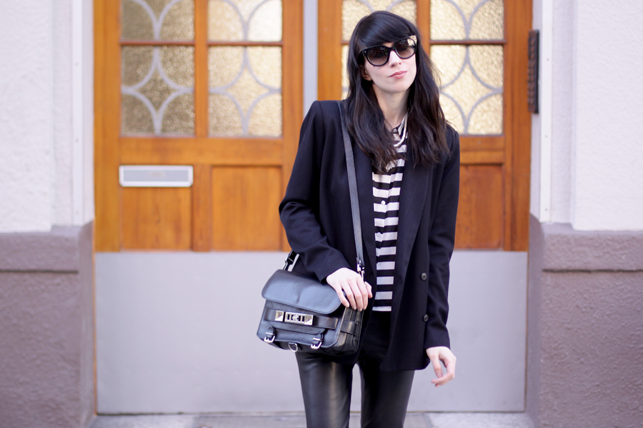 outfit ootd black stripes white look flats bangs spring proenza schouler ps11 mango zara ricarda schernus blog 7