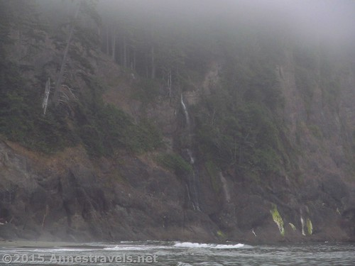 The waterfall on the cliff - too bad it was too misty to enjoy it. Third Beach, Olympic National Park, Washington