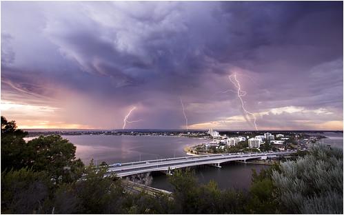 South Perth lightning at sunrise