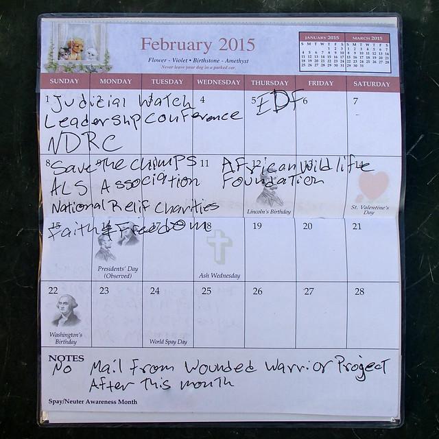 Junk mail calendar