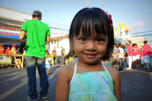 Girl at the street boodle fight