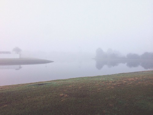 morning lake fog landscape orlando pond florida neighborhood suburb iphone alafaya vscocam