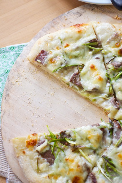 steak shaved asparagus and gorgonzola pizza