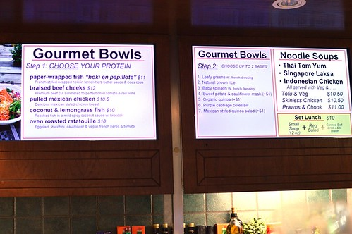 Gourmet bowls menu