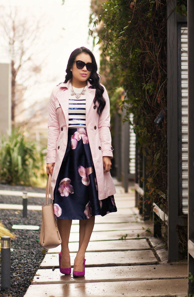 Pink Trench   Navy Pink Florals - cute & little