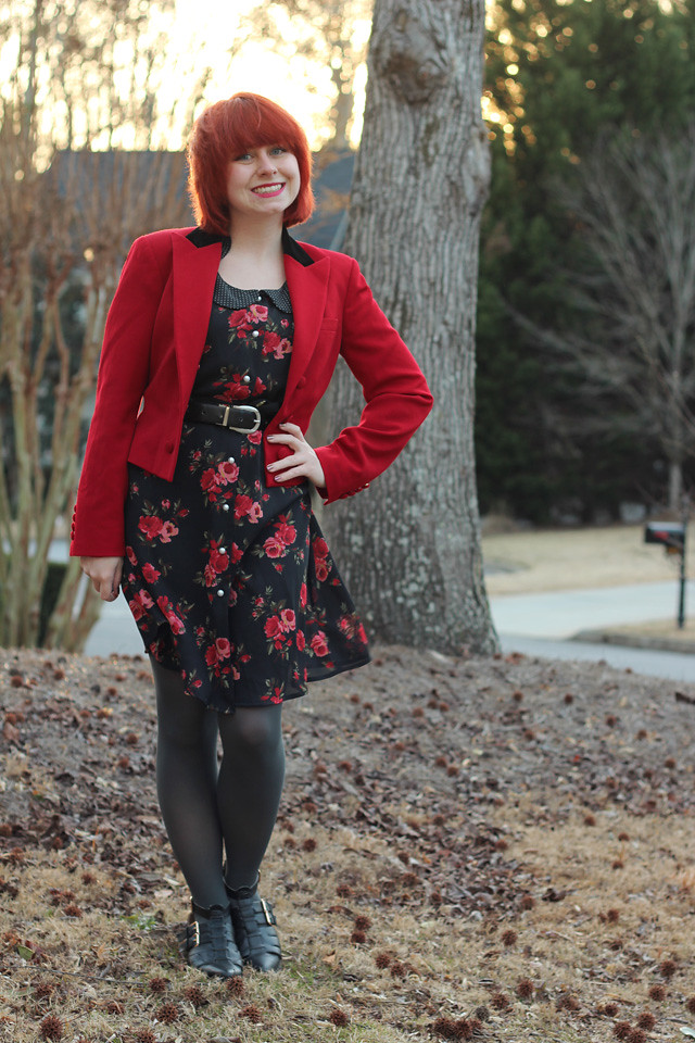 Red Ralph Lauren Blazer, Rose Print Dress, Gray Tights, and Cutout Flats