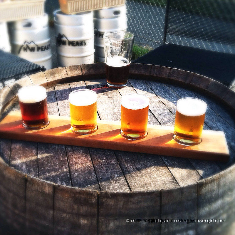 beer flight at nw peaks brewery