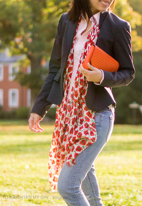 navy blazer, pink striped button up shirt, floral scarf, orange clutch