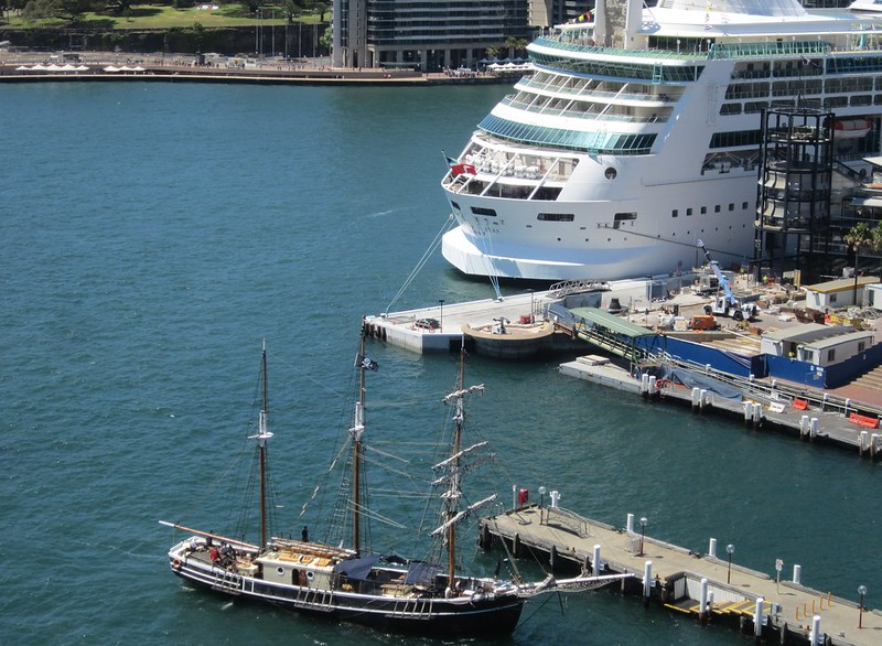 Sydney Harbour: Cruise ship Rhapsody of the Seas, and a tall ship