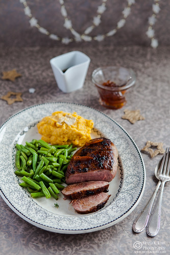 Orange Marmalade Glazed Duck Breasts with Parsnip Pumpkin Truffle Butter Mash-0196