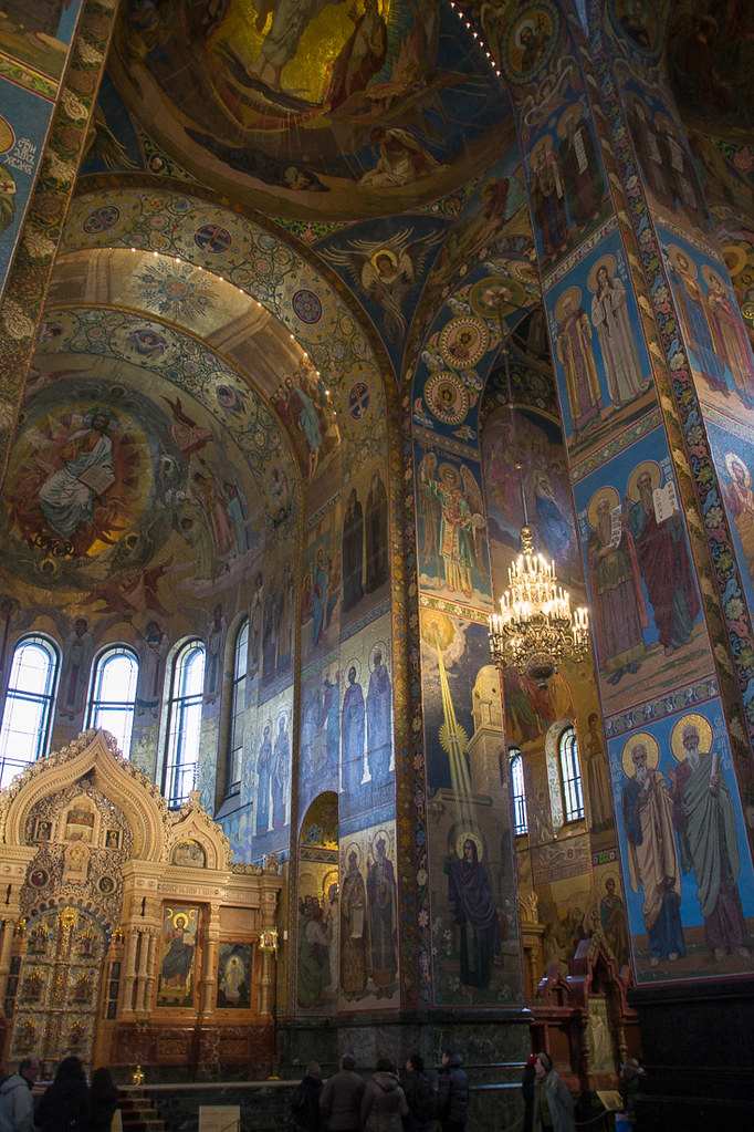 Views inside Mosaic walls inside Church of Our Savior on Spilled Blood