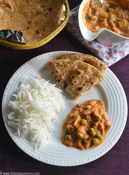 Matar Mushroom Recipe / Mushroom Peas Masala Sharmis Passions
