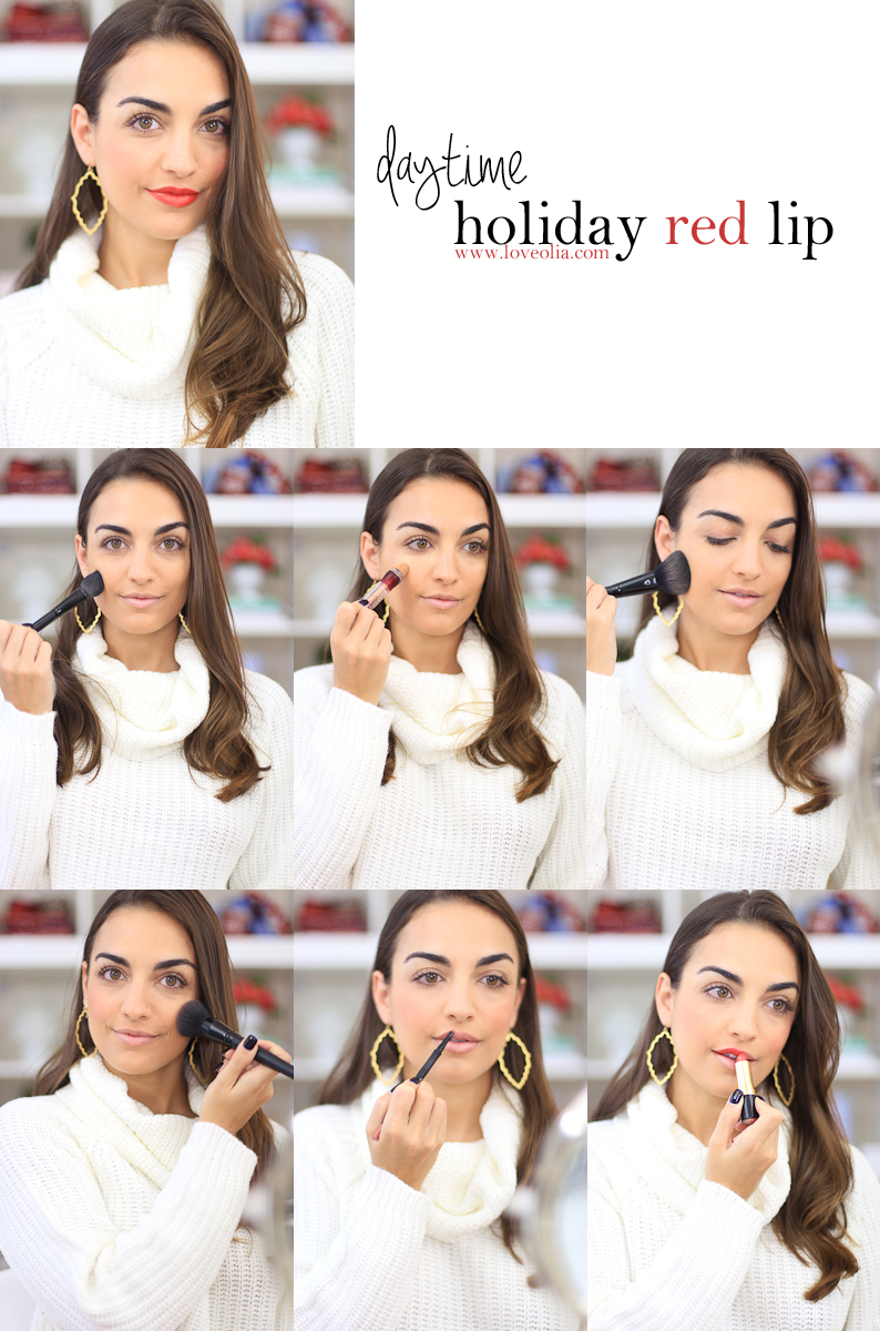 daytime holiday red lip lipstick makeup tutorial