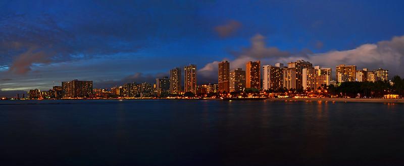Waikiki At Sunset Panorama
