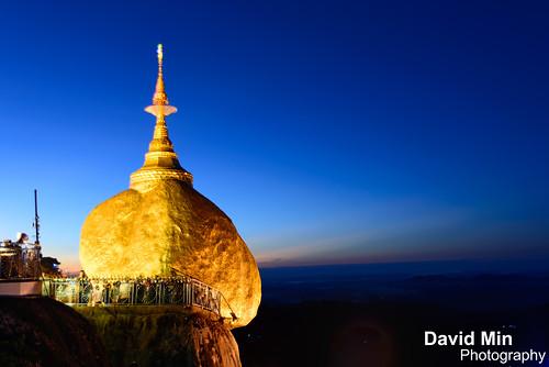 travel tourism rock stone sunrise religious pagoda twilight asia buddha monk buddhism visit mount monks myanmar relic kyaiktiyo golen kinpun