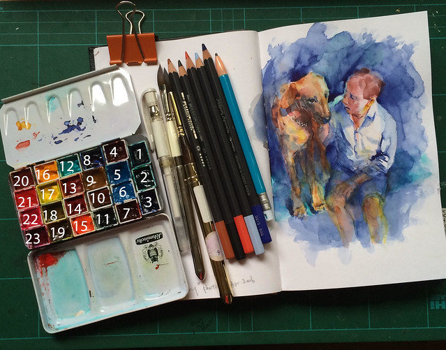 "Art Materials for watercolour painting of ""Mike and Henry"" by Ako Lamble"