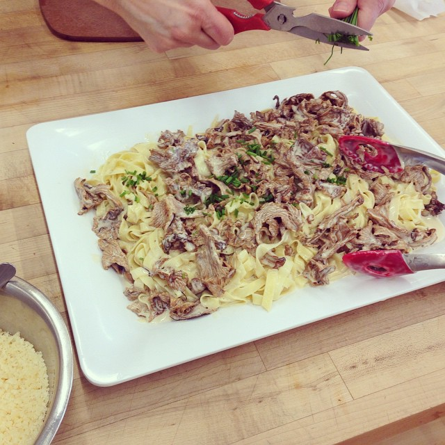 Lunch is the fettuccine we made with wild mushrooms. Heaven. 😍