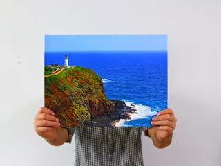 Felling happy when I can hold my masterpiece 😃 gorgeous Kauai island at Hawaii with beautiful lighthouse, I'm excited when I see this print art 😃